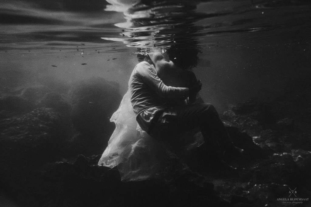 wedding photography tulum mia underwater cave trash the dress mexico