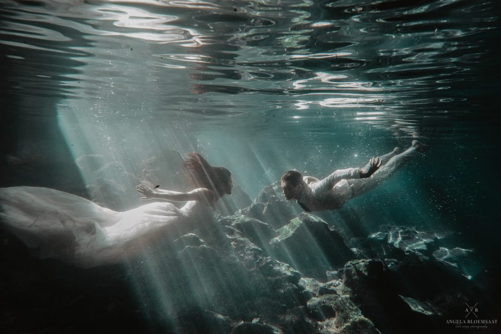 wedding photographer tulum mia underwater cave trash the dress mexico